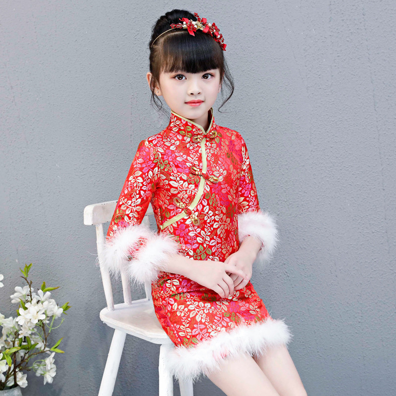 купить 2018 Autumn Winter New Chinese Red Color Embroidery Cheongsam Dress For New Year Birthday Party Baby Kids Good Quality Tang suit недорого