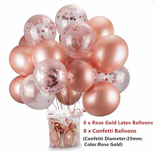 16pcs Rose Gold Confetti Balloon Baby Shower Girl Helium Ballon Baloes DIY Love Wedding Party Birthday Balloons Decoration Balls