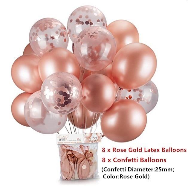 16 pcs Ouro Rosa Confetti Balão Balão De Hélio Balões Do Chuveiro de Bebê Menina DIY Amor Balões da Festa de Aniversário de Casamento Dcoration Bola