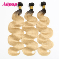 ALIPOP Brazilian Body Wave 3/4 Bundles Ombre Blonde Brazilian hair weave bundles T1B/ 613 Non Remy Hair Extensions Free Shipping