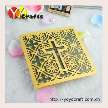 High quality cross wedding invitation card gold carved wedding invitations Wedding Event Party Supplies 50 sets
