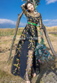 Bohemian Black Tulle Embroidery Long Dress Summer O Neck 3/4 Long Sleeves Maxi Dresses Chic  Beach Long Dress   61452