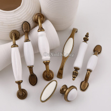Classic Ceramic 10PCS European Vintage Kitchen Door Furniture Handles Cupboard Drawer Wardrobe Cabinet Pulls and Knobs