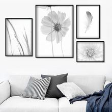 Daisy Grass Feather Wall Art Canvas Painting Landscape Nordic Posters And Prints Black White Wall pictures For Living Room Decor black white zebra quote landscape wall art canvas painting nordic posters and prints animals wall pictures for living room decor