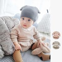 Two Girls Suit Knit 0 2 Year Old Cotton Baby Long Sleeve Blouse Lotus Leaf Shorts