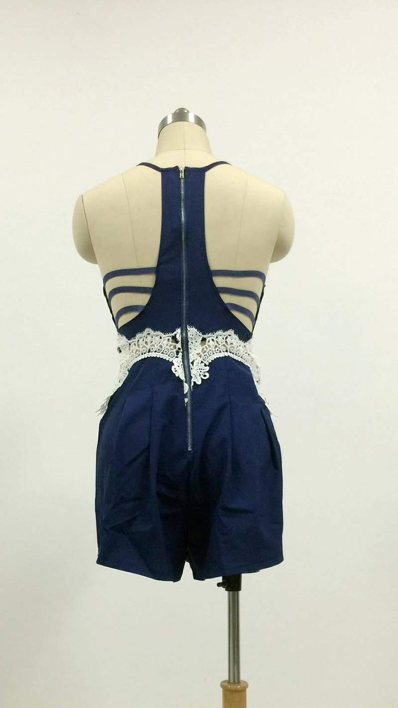 Buy Sukibandra Summer Romper Casual Sexy Backless I Am Cotton Hippie Blue Lace Playsuit Women Spaghetti Strap Rompers Womens Navy Beach Short Jumpsuit From