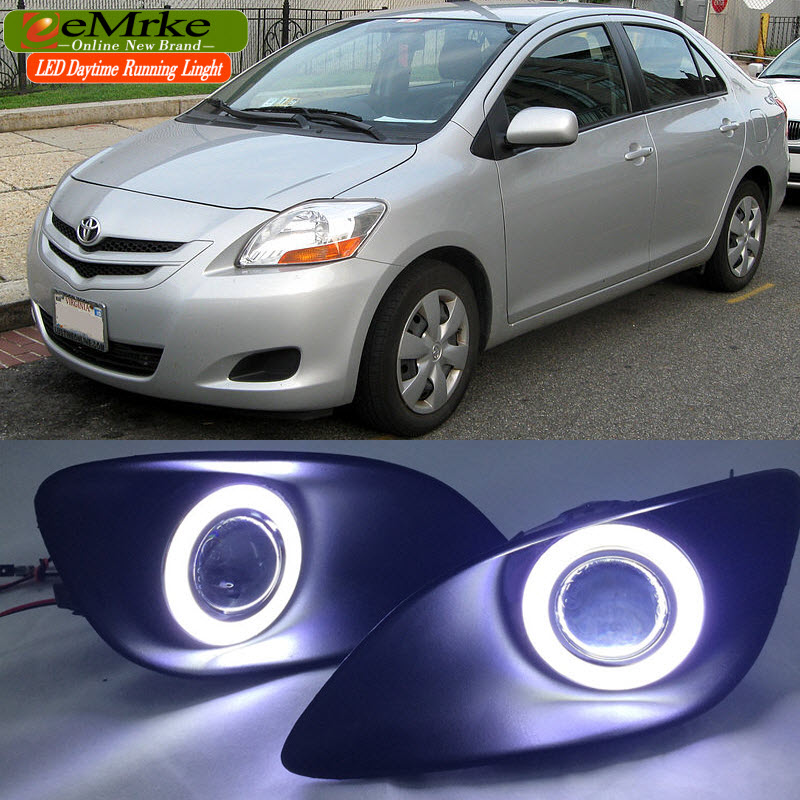 eeMrke For Toyota Vios Yaris Belta 2007-2013 LED Angel Eye DRL Daytime Running Light Halogen Yellow H11 55W Fog Lights fog lights lamp for toyota yaris senda 2006 belta vios 2007 clear lens pair set wiring kit fog light set
