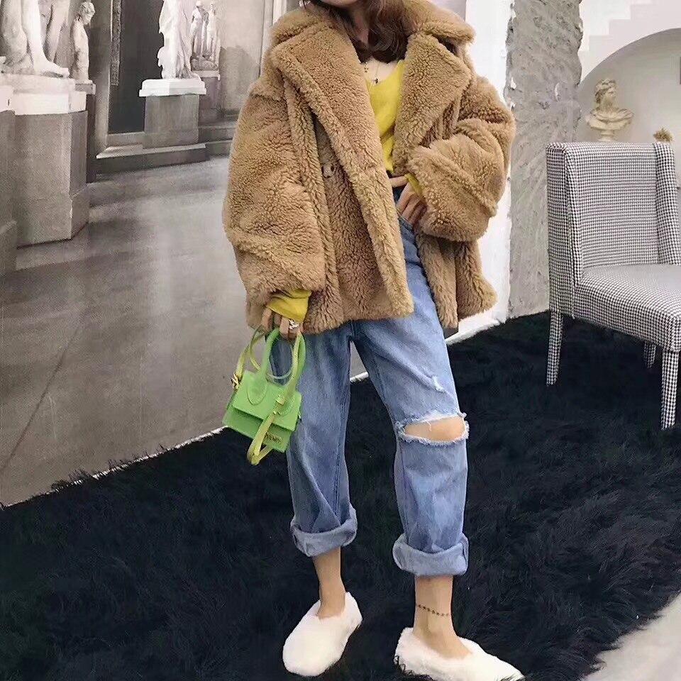 Laine 4 New noir Double D'hiver Fourrure Épais 5 Chaud face Parkas 2 Réel Lâche Survêtement 1 Femmes Veste Naturel Casual 2018 Manteau 3 Streetwear De PpSxq8RqXw
