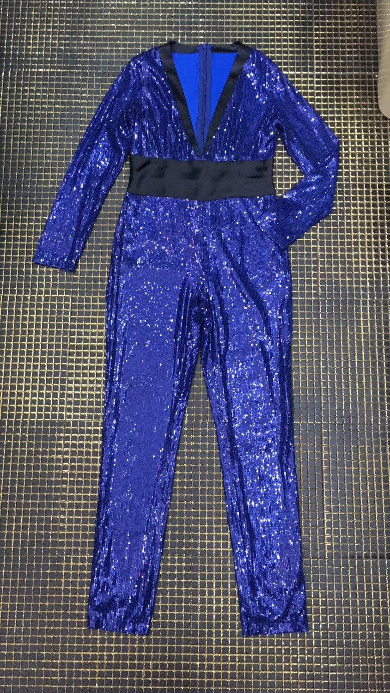 Haute Pleine V Streetwear Sexy Bleu Qualité Combinaison Élégant Femmes Soirée Pailleté cou Longueur r8rZB