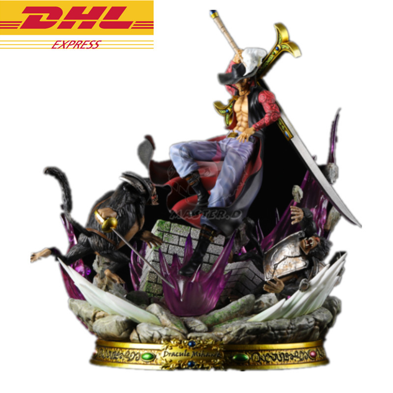 Statue ONE PIECE Dracule Mihawk Seven Warlords Of The Sea Roronoa Zoro Disciple GK Action Figure Collectible Model Toy BOX D819 new hot 26cm one piece big dracule mihawk action figure toys doll collection christmas toy no box