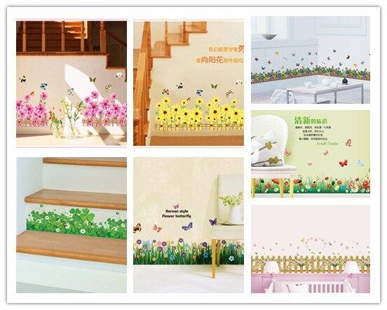 3D цветы трава заборы бабочка талии плинтус наклейки Спальня Гостиная цветы стены наклейки для детской комнаты home decor
