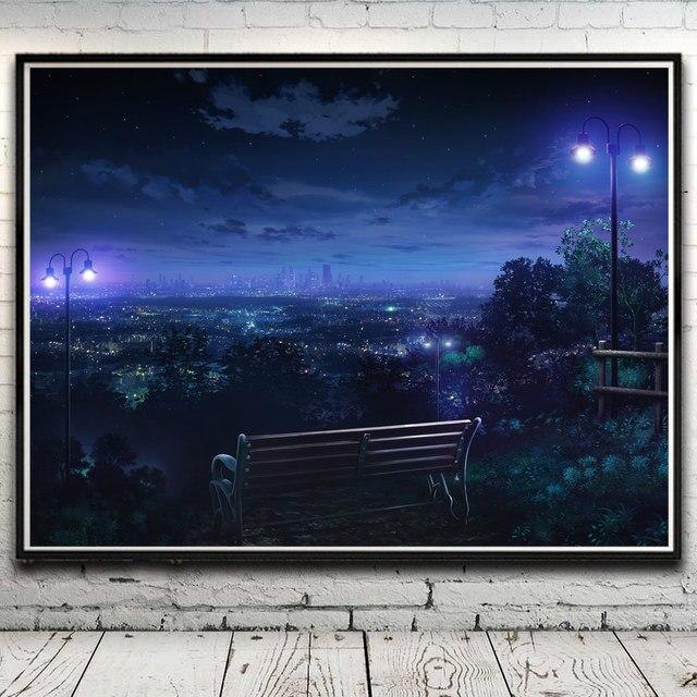 Landscape Cityscape Night Park Hills Lights Art Silk Poster Home ...