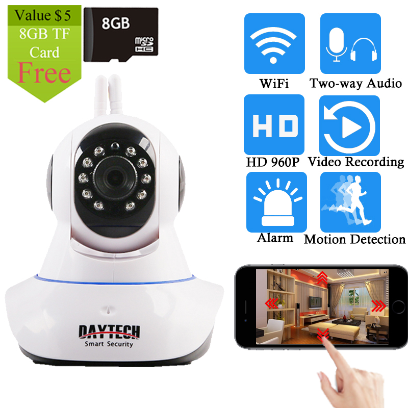 Daytech IP Camera Wireless Home Security Camera WiFi Network PT Two Way Audio IR Cut  HD 960P CCTV Night Vision Free 8G TF  Card