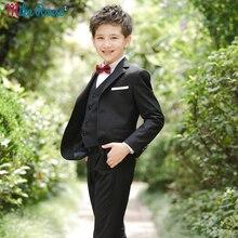 Детские блейзеры для мальчиков на свадьбу черные костюмы приталенный Блейзер для мальчиков стильные официальные костюмы для мальчиков, праздничная одежда с цветочным узором для мальчиков