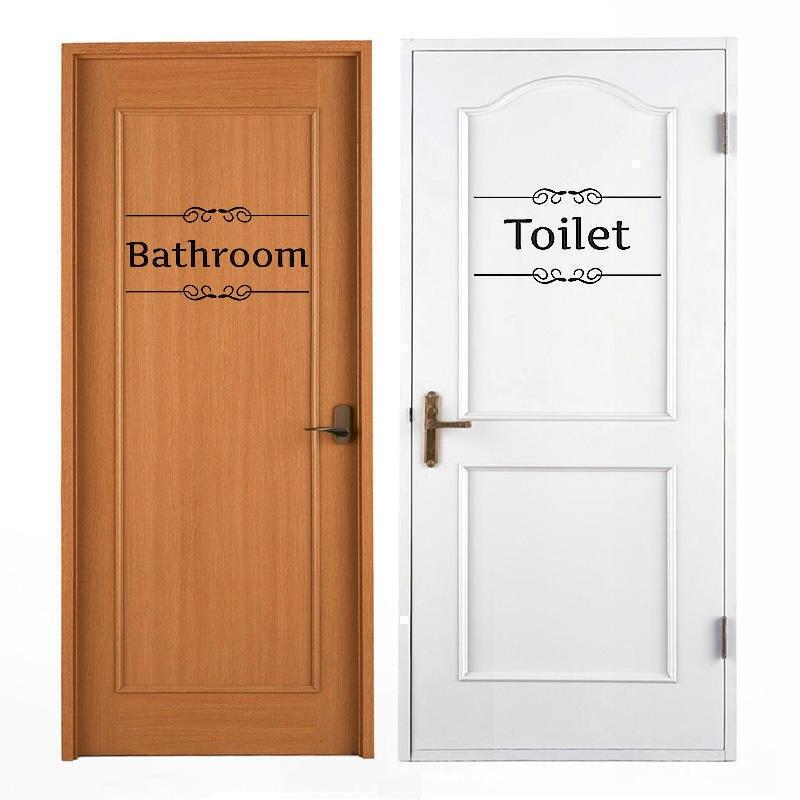 2 sheets black pvc bathroom toilet door sign wall sticker bathroom toilet door decal diy home