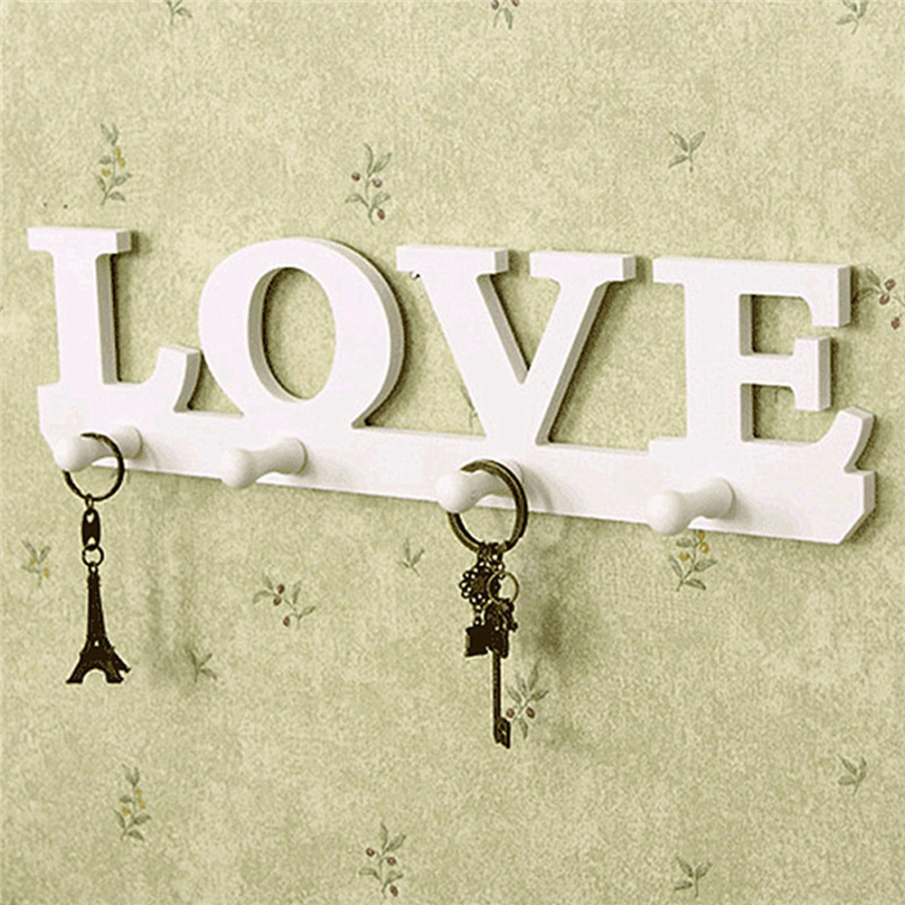 Vintage Hooks Coat Hook Hat Key Holder Hat Clothes Hanger White Wood LOVE Wall Hook Bathroom Home Store Office Door Decoration