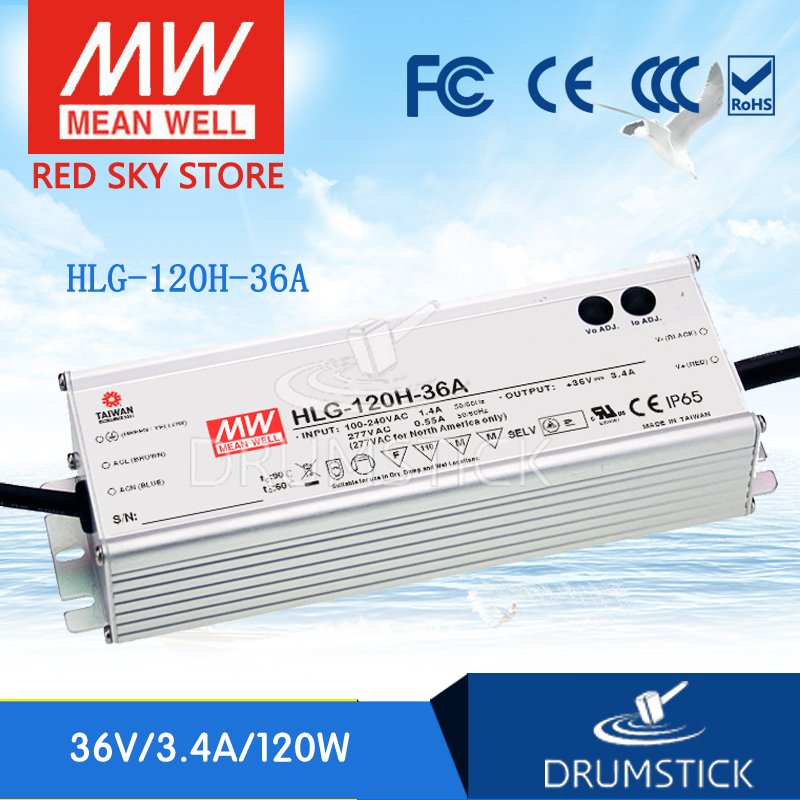 все цены на Best-selling MEAN WELL HLG-120H-36A 36V 3.4A meanwell HLG-120H 36V 122.4W Single Output LED Driver Power Supply A type онлайн