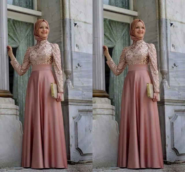 81c3af66af0 Robe De soirée hijab col haut à manches longues une ligne étage longueur  Robe De soirée