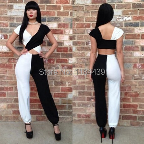 2014 Hot Design Europe and the United States Clubs women's sexy backless Siamese trousers Black and White color Mosaic Jumpsuits