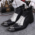New vintage Men's fashion punk Mixed Colors Rivets Ankle boots Pointed Toe Full Grain Leather cowboy Western boots for men