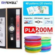 Myriwell 3d Ручка RP100C с PLA 1,75 мм нити Бесплатная узор Детская безопасность plasic лучший подарок для детей подарок на день рождения