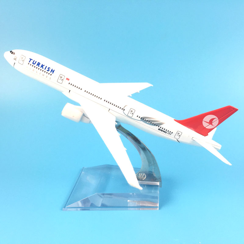 FREE SHIPPING 16CM TURKISH AIRLINES 777 METAL ALLOY MODEL PLANE AIRCRAFT MODEL TOY AIRPLANE BIRTHDAY GIFT image