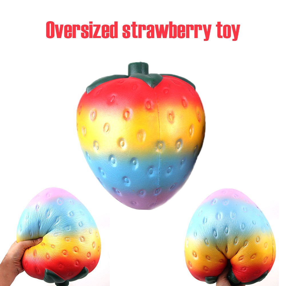 Squishy Antistress Lovely Large Strawberry Squish Cute Stress Reliever Super Slow Rising Fun Kids Toys Squishy Soft Squeeze Toys slow resilient series of lovely elastic mermaid toys jumbo squishy 5pcs