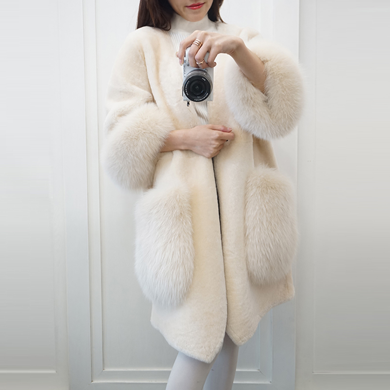 Haute Et Cisaillement Imitation Manteau D'hiver Beige Fourrure Automne Une Section Moutons rose Longue De Faux 2018 Renard Nouveau V Femmes cou Des WnXRU6cqc