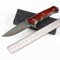 free shipping senior The sharp Damascus hunting survival tactics folding knife hardness 58 HRC EDC tool High end gift knife