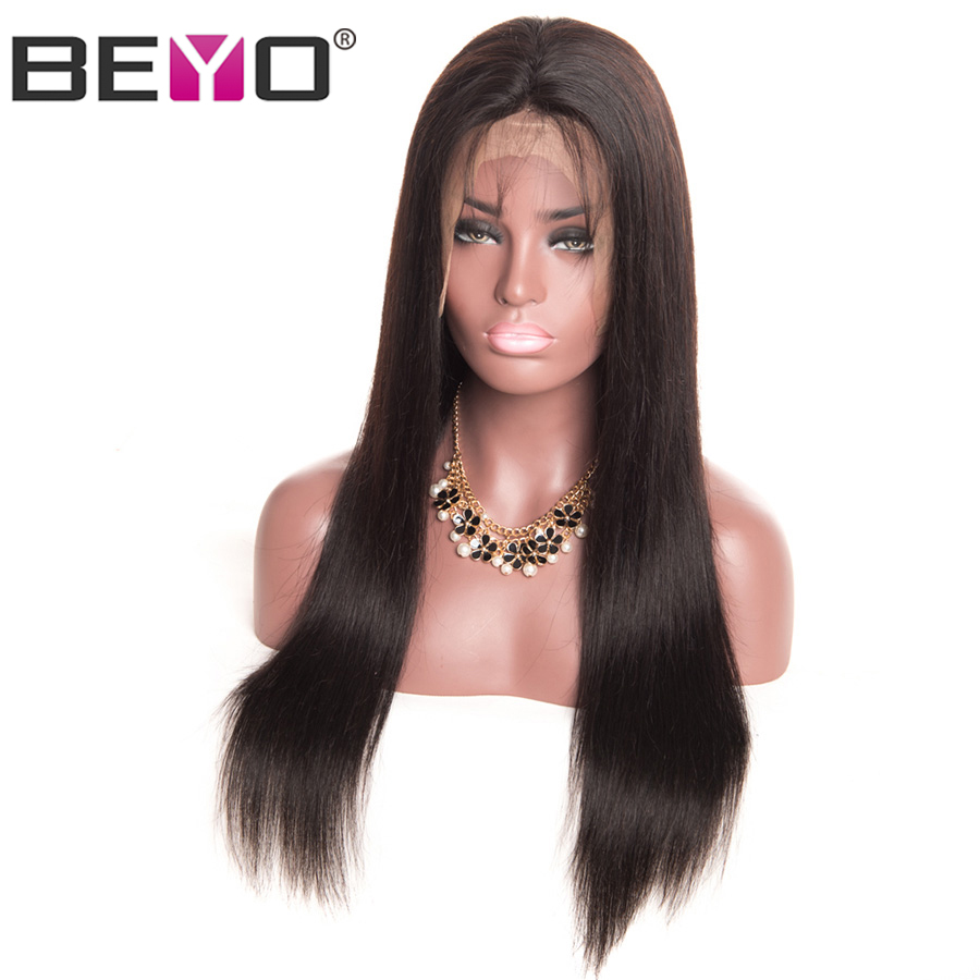 Straight Wig 360 Lace Frontal Wigs With Baby Hair 150% Density Lace Front Human Hair Wigs For Women Peruvian Hair Remy Beyo-in Human Hair Lace Wigs from Hair Extensions & Wigs    1