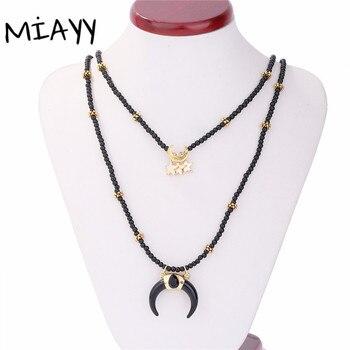 f0d89929b98e Mujeres étnicas Vintage gargantillas collar joyería buey cuerno Luna Media  luna colgante collares Luna estrella colgante