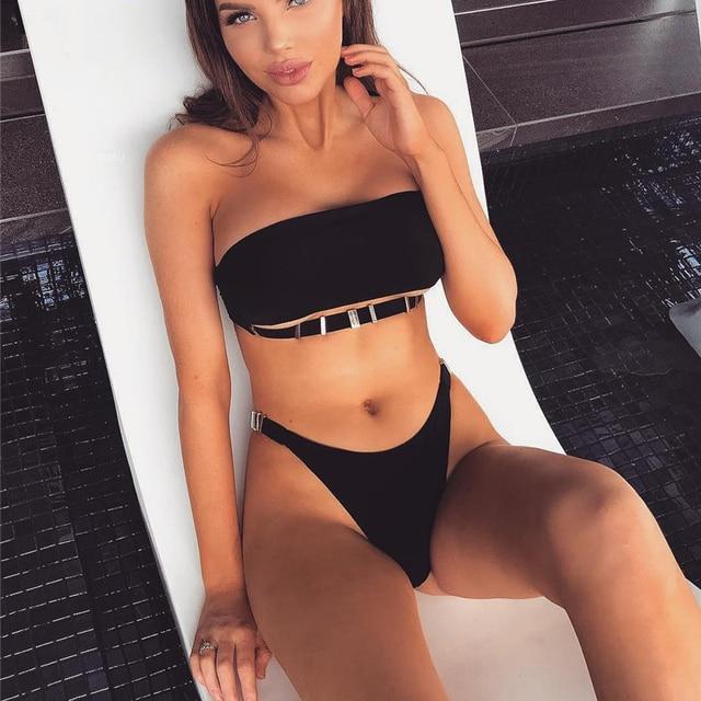 1ee0eb632bb57 Sexy Brazilian Bikinis Swimming Suits High Cut Swimwear Women Bandeau Swimsuit  2018 New Solid Bathing Suit Beach Bikini biquini