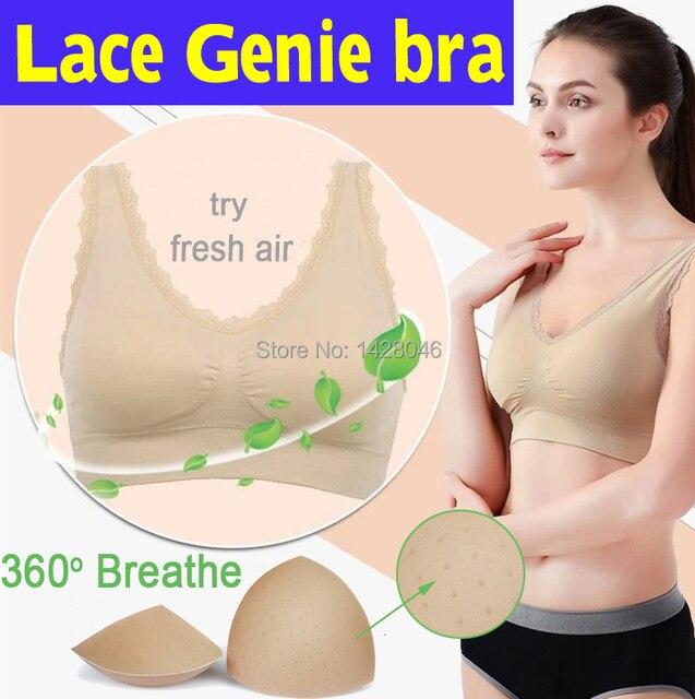 bcd86148ad2a1 1pcs leisure Lace Genie Bra with removable sponge pads