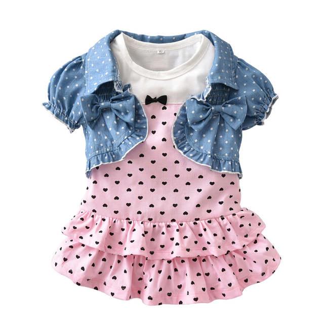 834988c3f56 placeholder Summer 2018 New Baby Girls Clothes suit cute sleeveless cake  dress+vest 2pcs newborn toddler