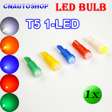 Flytop 1 x T5 1 SMD LED Bulb Ceramic Dashboard Gauge Instrument Auto Light Car Lamp DC12V White Green Yellow Blue Red Color
