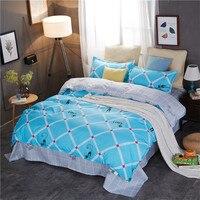 Stylish Blue Cartoon Pattern Bedding Set 5 Size Bed Linens 4pcs/Set Duvet Cover Set Bed Sheet AB Side Duvet Cover Bed Polyester