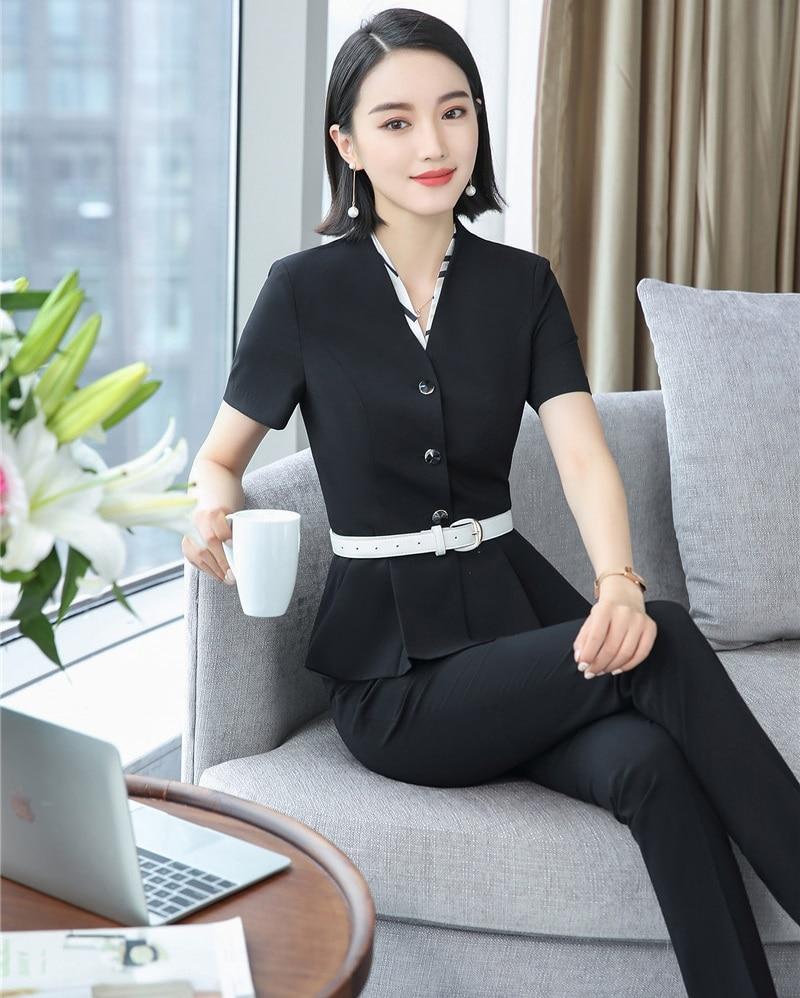 Pantalon Vêtements Veste Uniforme Blazer Dames Ensemble D'été Travail Costumes Femmes D'affaires Et Styles Bureau De Pour Les 1S5vAqT