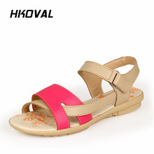 HKOVAL Women Sandals Fashion Female Shoes Summer Casual Comfortable Ladies Flats Woman Shoes Sweet Soild Sandals beyarne summer sandals female handmade genuine leather women casual comfortable woman shoes sandals women summer shoes