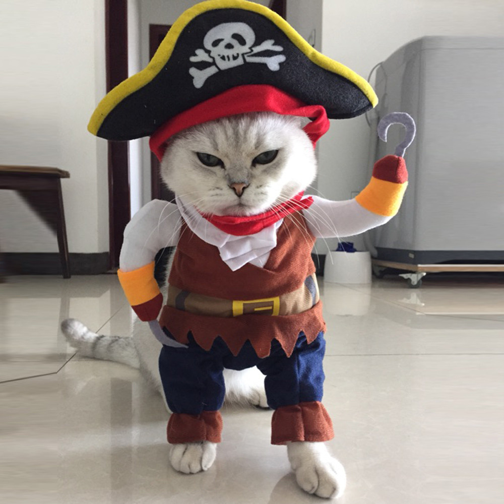 Pet Clothes Cosplay Pirate Dogs Cat Halloween Cute Costume Clothing Comfort For Small Medium Dog New Arrival B#