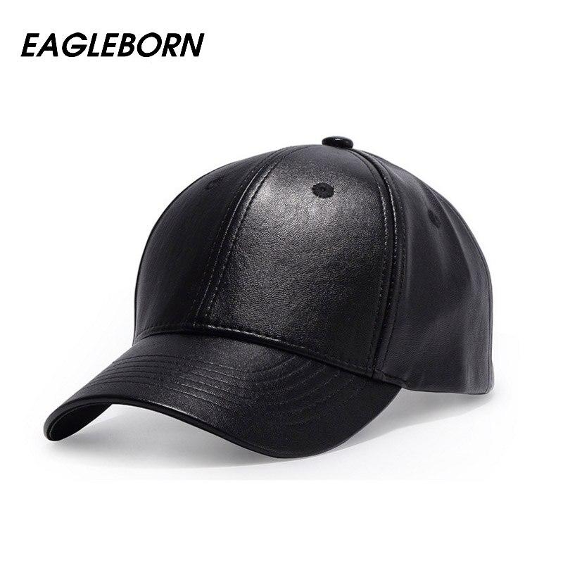 Llano nuevo hombres gorra de béisbol mujeres cuero sólido SnapBack  casquette marca ajustable hueso pu sombreros para hombres invierno Gorras  de béisbol 6a1ae8ee7d5