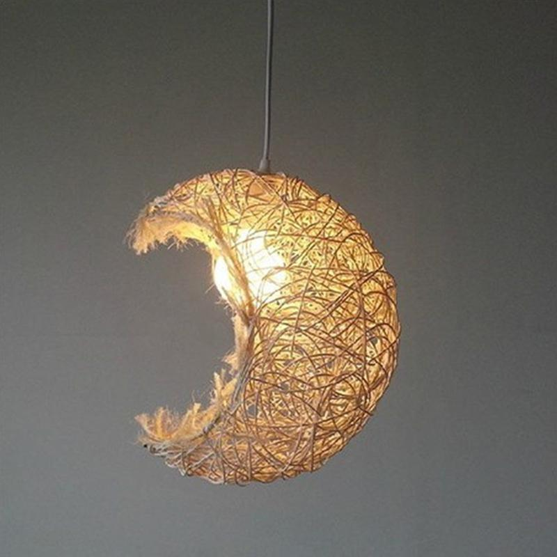 AKDSteel Grass Vine Moon Shape Pendant Lamp Shade Ceiling Lampshade Beautiful Decoration Romantic Lighting Cover