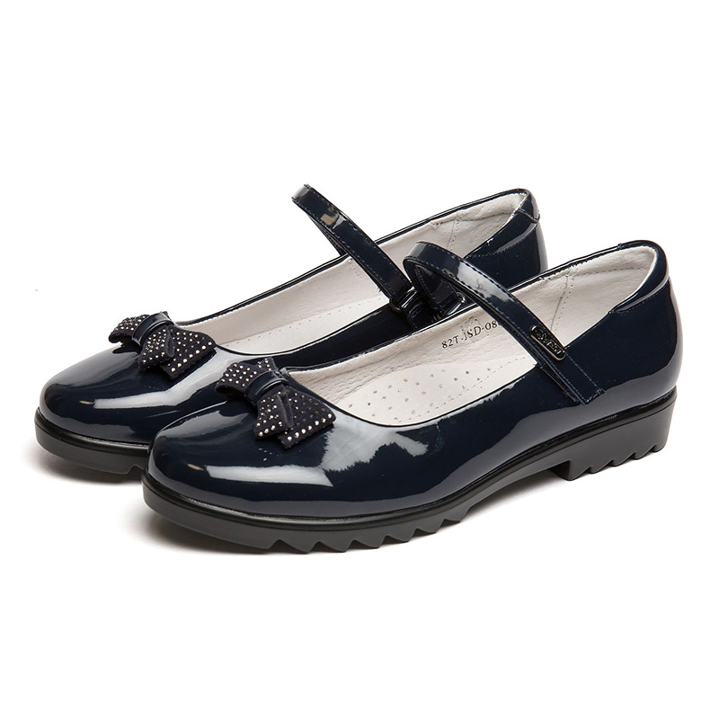 QWEST Genuine Leather Insole Low-heeled Spring& Autumn Blue Orthotic Arch Size 32-37 Children School Shoes for Girl 82T-JSD-0867 beyarne women shoes fashion pointed toe slip on flat shoes woman comfortable single casual flats spring autumn size 35 41 zapato