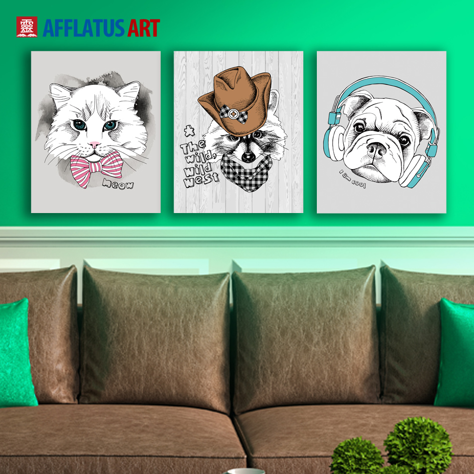 AFFLATUS Canvas Painting Nordic Watercolor Dog Wall Art Painting Canvas Poster Decorative Wall Pictures Kids Room