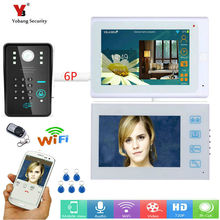 Yobang Security 7″ 2 white Monitors Wired /Wireless Wifi Video Door Phone Doorbell Intercom System with 5pcs RFID Password