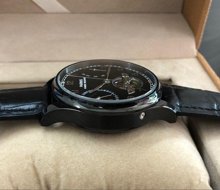 43mm PARNIS azjatyckich ST2505 automatyczne self wiatr mechaniczne zegarki męskie zegarki zasilania rezerwy Auto data zegarki mechaniczne pa144 8A w Zegarki mechaniczne od Zegarki na  Grupa 3