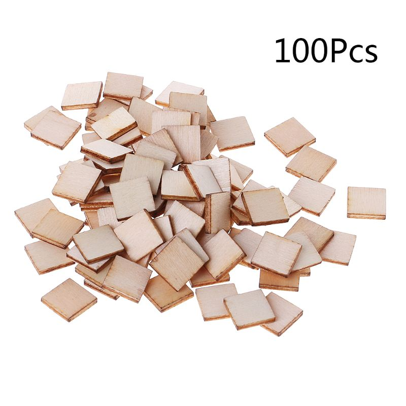 100pcs Laser Cut Wood Square Embellishment Wooden Shape Craft Wedding Decor