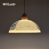 handmade ceramic china pendant lamp restaurant hotel store shop office dinning room blue and white porcelain suspension lamp