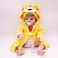 Новая распродажа 22 дюймов 55 см полный силиконовые Кукла реборн с тигром желтый Одежда Playmate силиконовые малыша Reborn для маленьких девочек кук