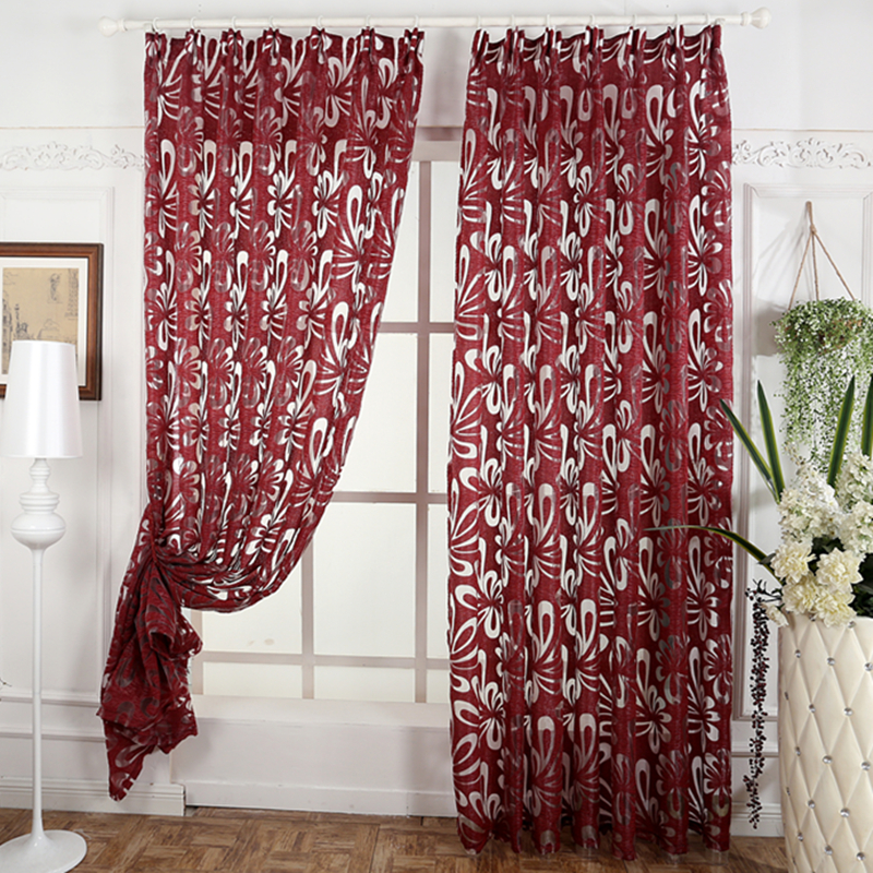 free shipping jacquard 3d flower pattern curtains for living room modern semi blackout curtain ready made - Patterned Curtains