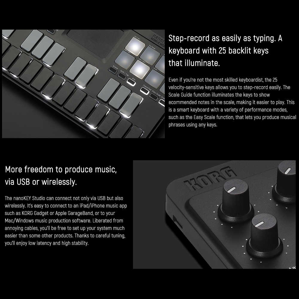 KORG nanoKEY Studio MIDI Keyboard Controller Supports Wireless BT & Wired  USB Connection for Smarthone Computer